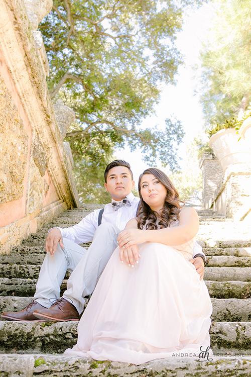 engagement photography at vizcaya museum, miami