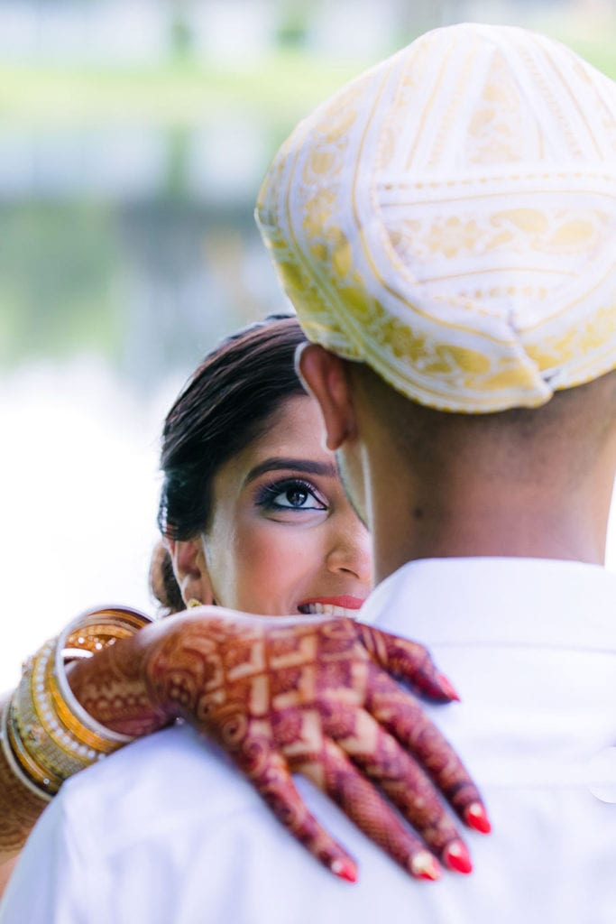 indian bride with hand mehndi