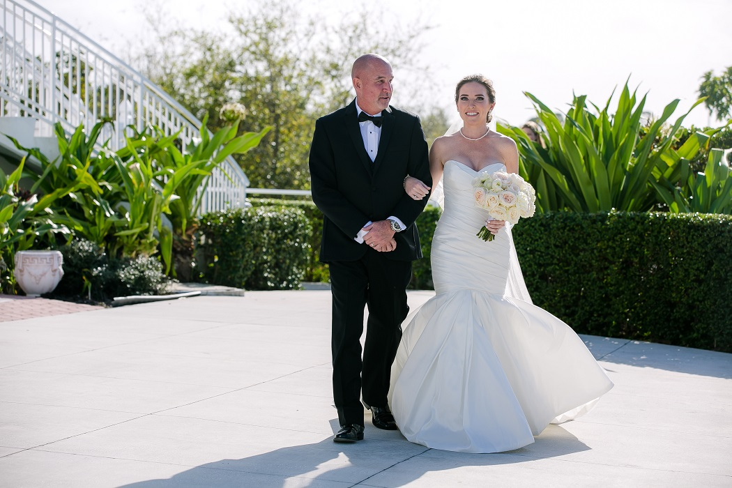 Romantic Jensen Beach Wedding Photography Black Bridesmaid Dresses The Mansion At Tuckahoe Groom Walks His Daughter Down Aisle