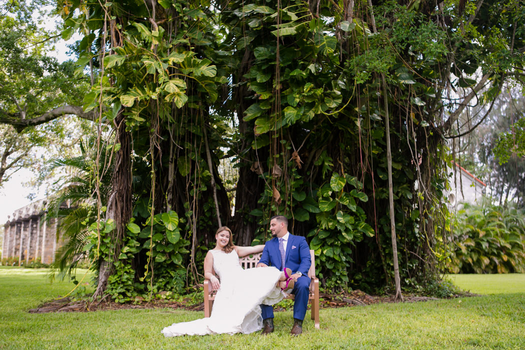 bride and groom at ancient spanish monastery | wedding photographer fort lauderdale