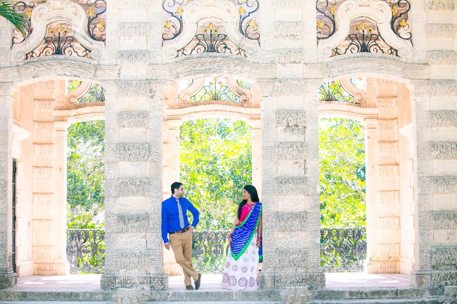 vizcaya museum + gardens, miami   indian engagement photoshoot