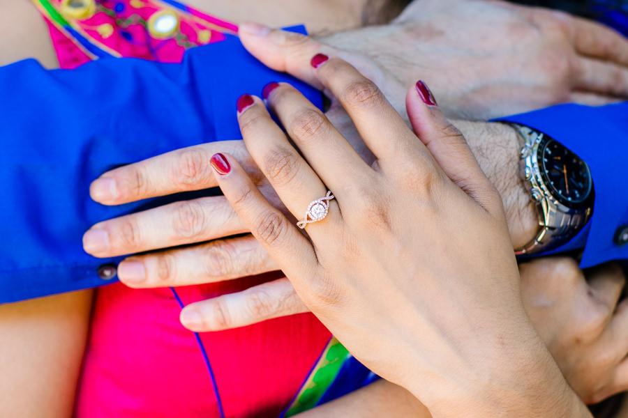 diamond engagement ring photo   vizcaya museum modern indian engagement session