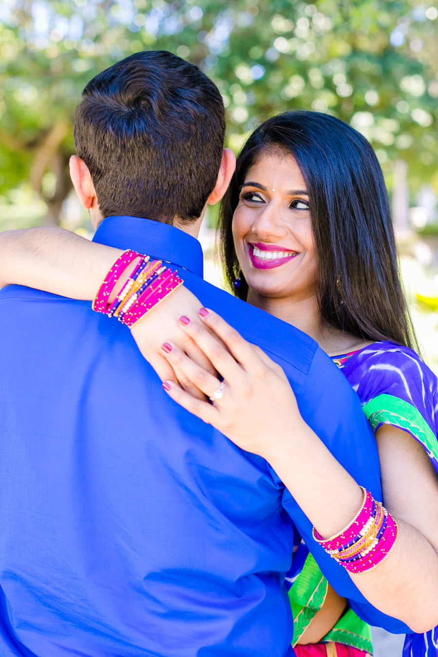 modern indian engagement photoshoot with traditional indian pink and white sari   vizcaya museum and gardens, miami