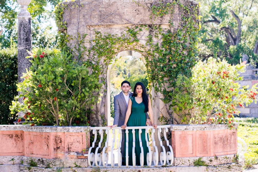 engagement photoshoot with modern indian couple   vizcaya museum and gardens