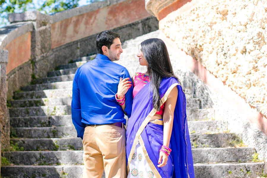 modern indian engagement photoshoot at vizcaya museum, miami