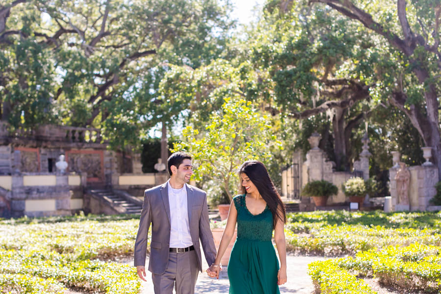 modern indian couple during engagement photoshoot at vizcaya museum