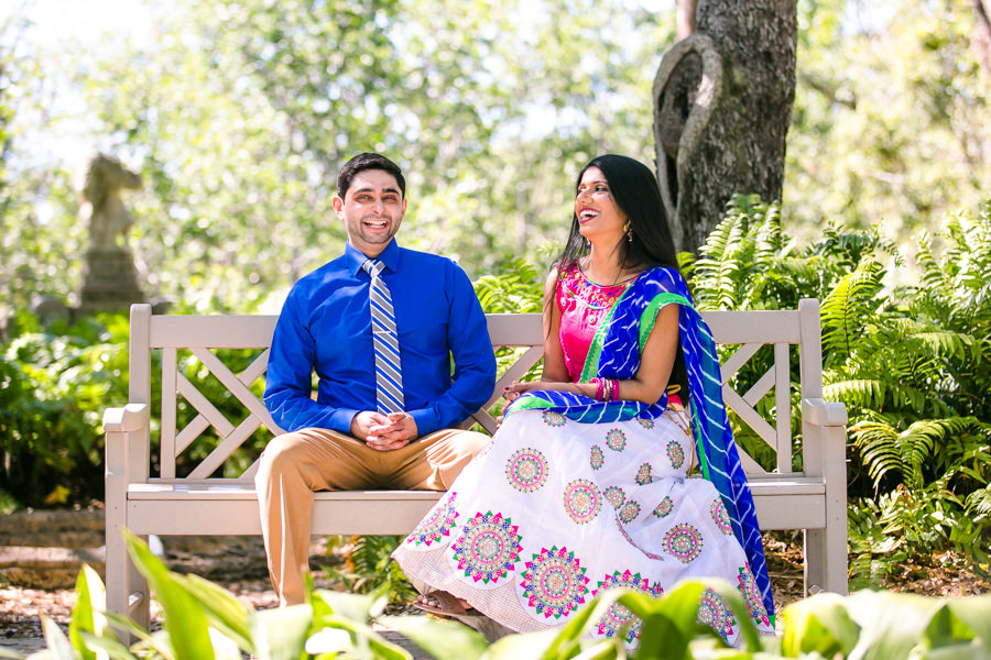 indian engagement photoshoot in vizcaya   traditional indian white and pink sari