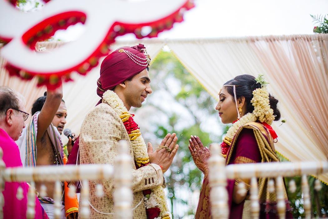 indian wedding ceremony with bride and groom | fort lauderdale bahia mar