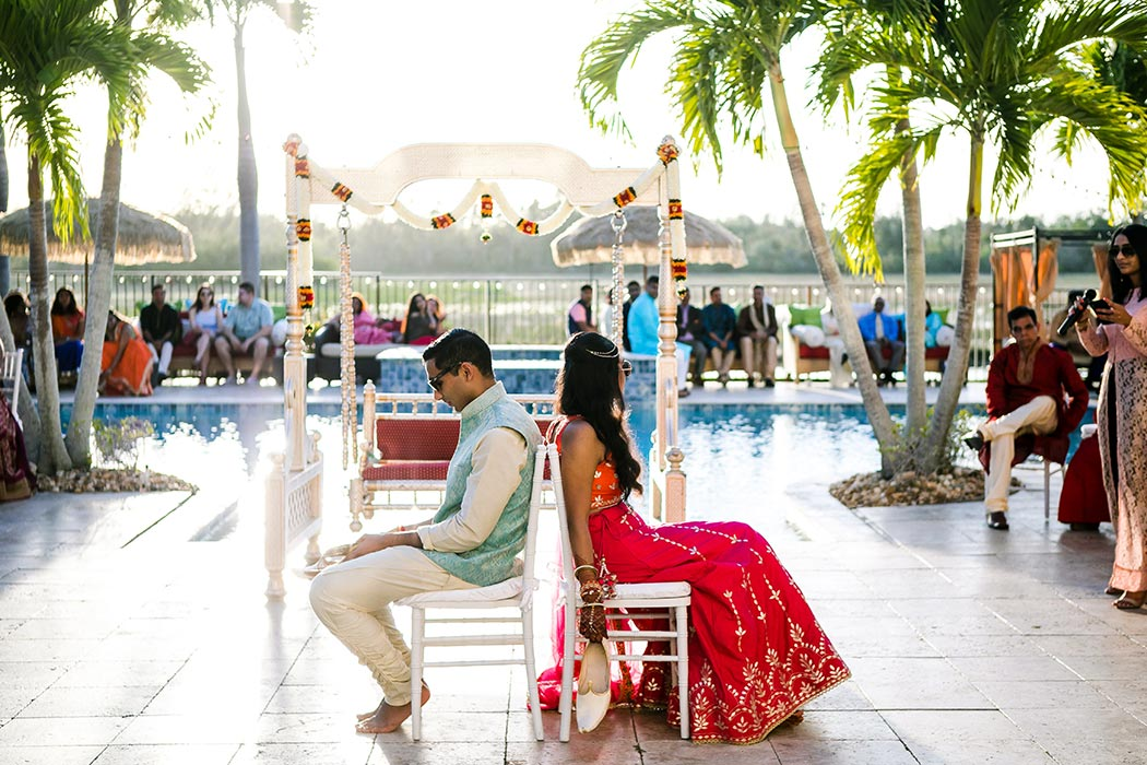 indian bride and groom play pre-wedding games in south florida