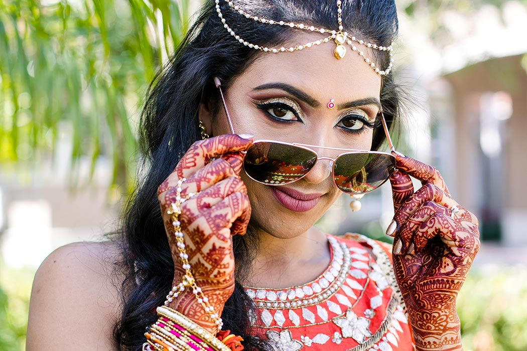 modern indian wedding at bahia mar fort lauderdale | pink and orange sari