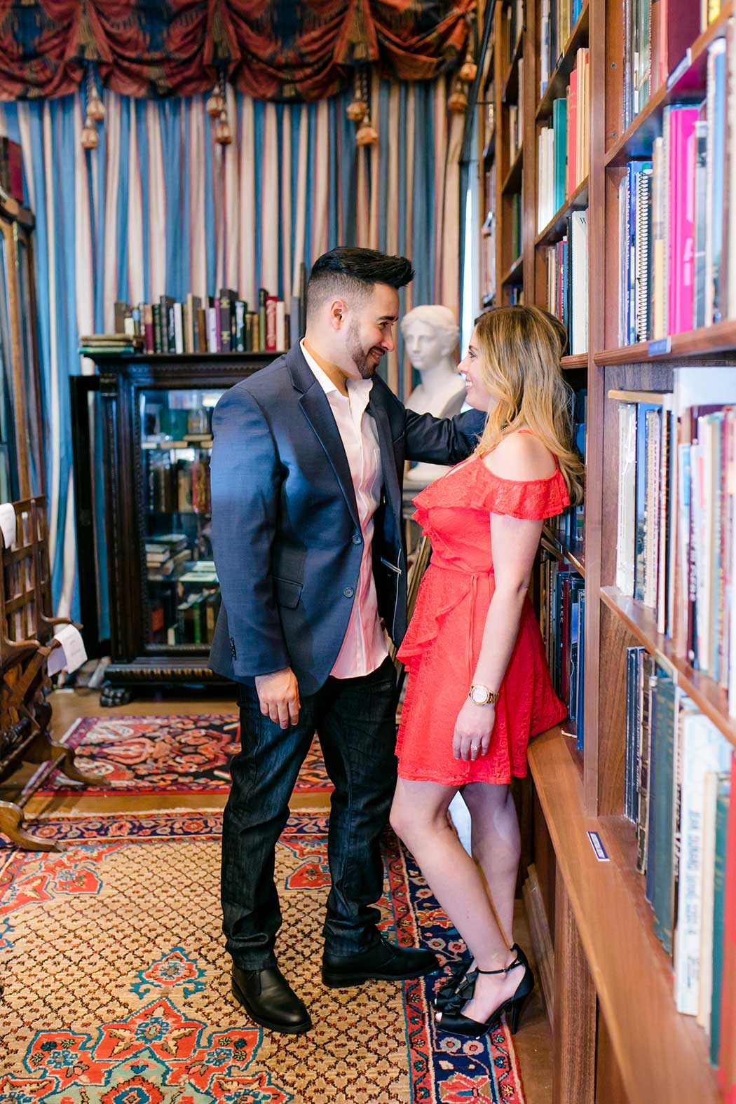 cute book store engagement session in fort lauderdale | andrea harborne photography