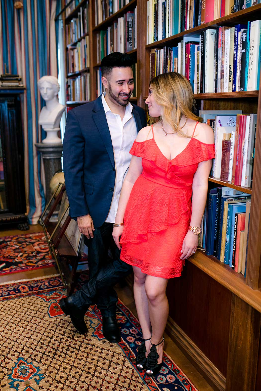 cute engagement session in a fort lauderdale book store