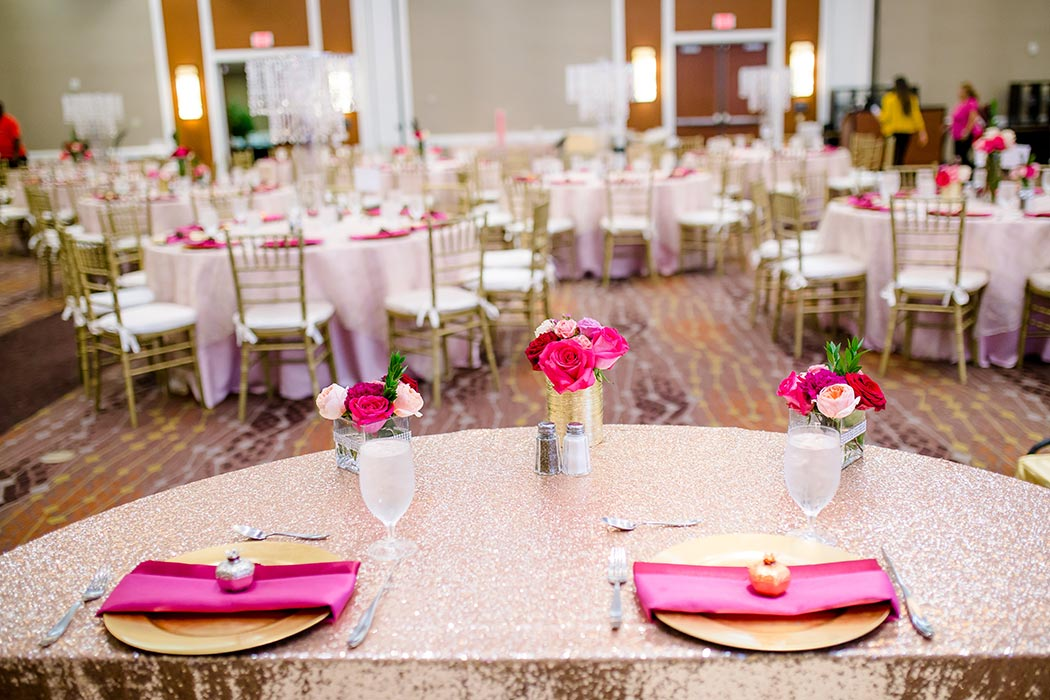 modern indian wedding gold and pink sweetheart table at wedding reception | indian wedding photographer