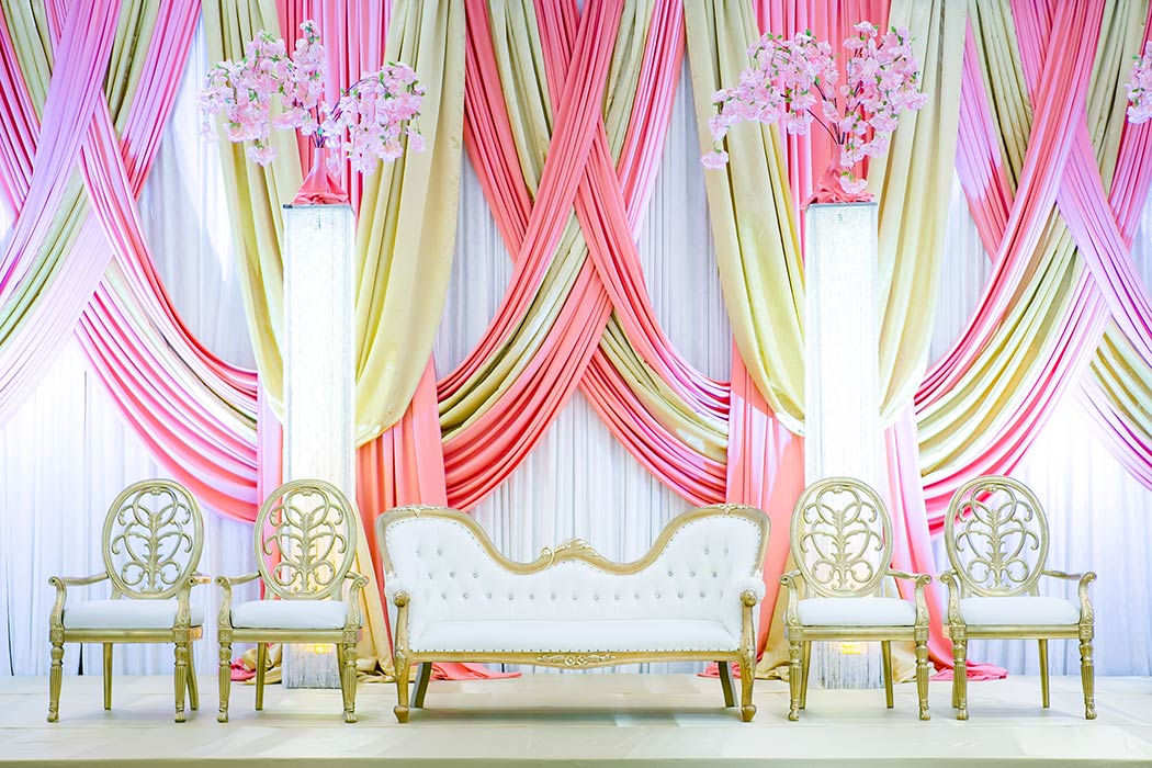 Indian Wedding Stage Decoration Pictures | Reception Stage Decor | Decorator Pink And Gold Indian Stage Design