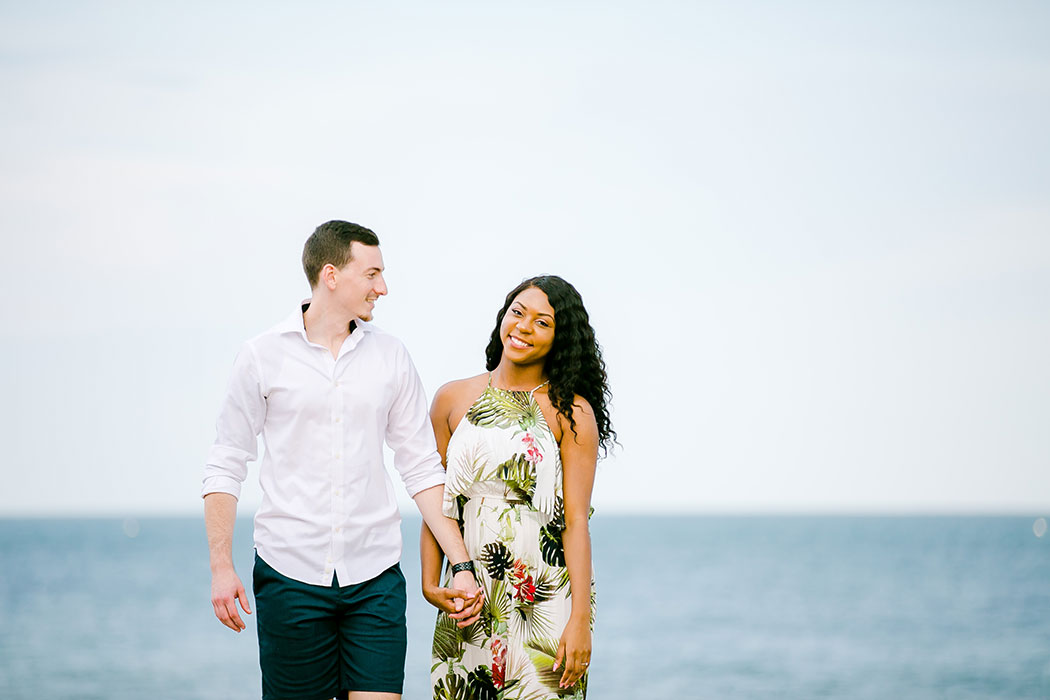 mixed race couple engagement photoshoot in south florida | photographer south florida