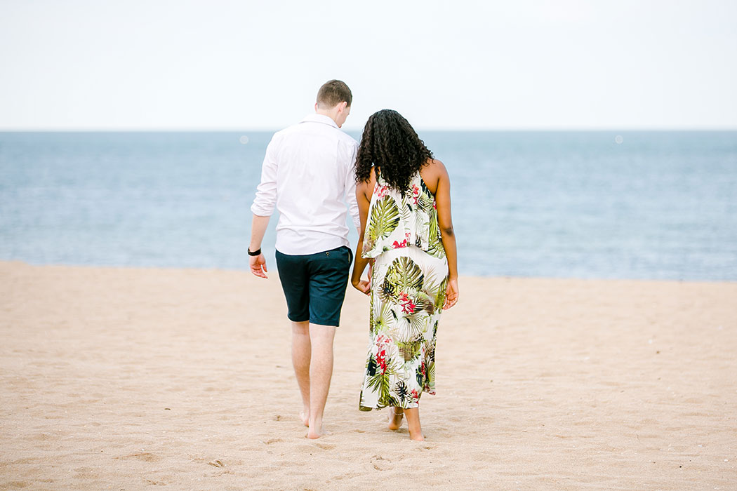 mixed race couple during south florida beach engagement photography | south florida engagement photographer | fort lauderdale engagement photography
