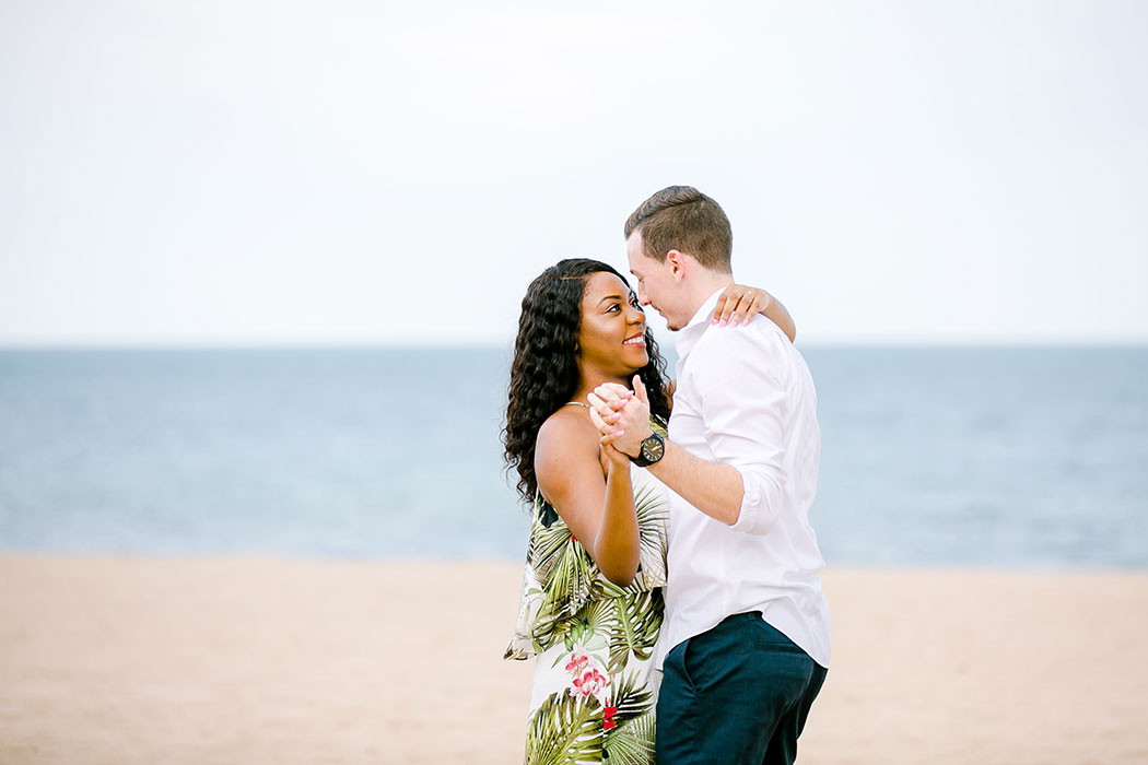 pompano beach south florida engagement photoshoot with mixed race couple | engagement photographer fort lauderdale